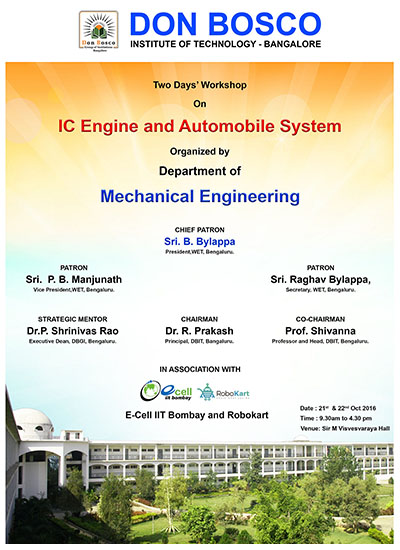 IC Engine and Automobile System work shop